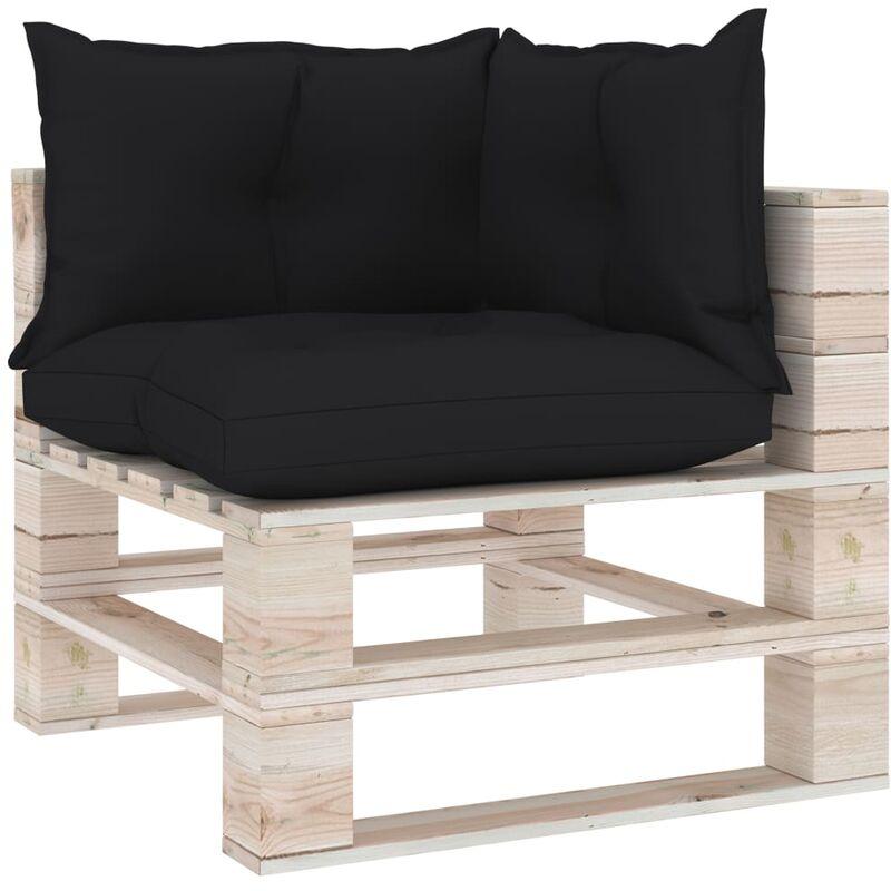 ILOVEMONO Coussins de canapé palette 3 pcs Noir Tissu
