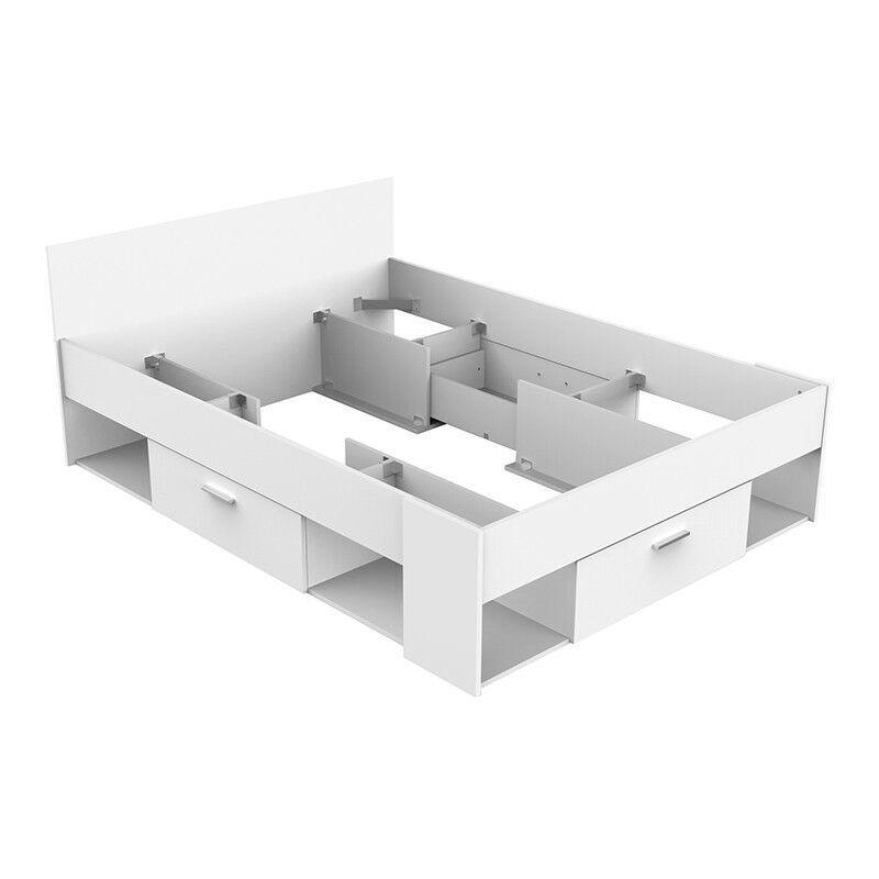DEMEYERE Lit 140 x 190/200 cm SEATTLE blanc perle - Environnement de lit non fourni