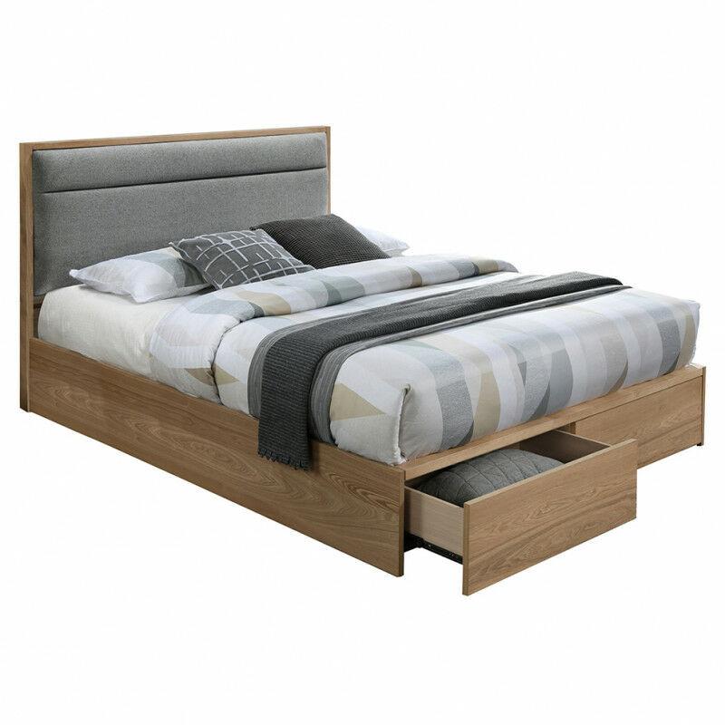 Meubletmoi - Lit 140x190 bois naturel avec tiroirs - Montana - beige