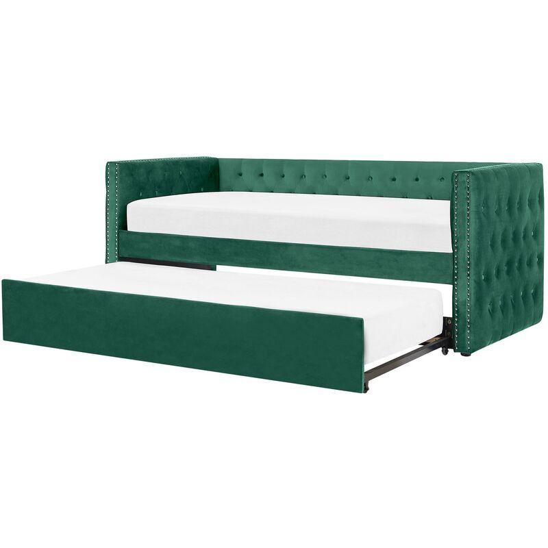 Beliani - Lit gigogne en velours vert 90 x 200 cm GASSIN