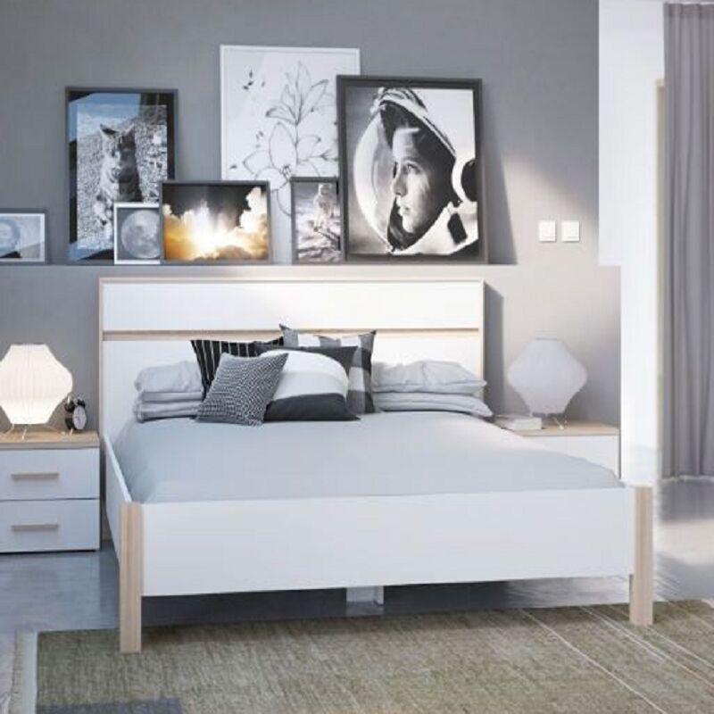 DEMEYERE Lit en 140x190 cm blanc et naturel Lena - Blanc
