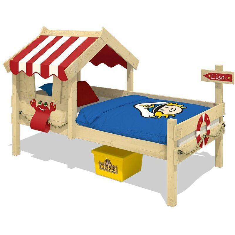 WICKEY Lit enfant, Lit maison Crazy Sharky bâche rouge Lit en bois 90 x 200 cm - Wickey