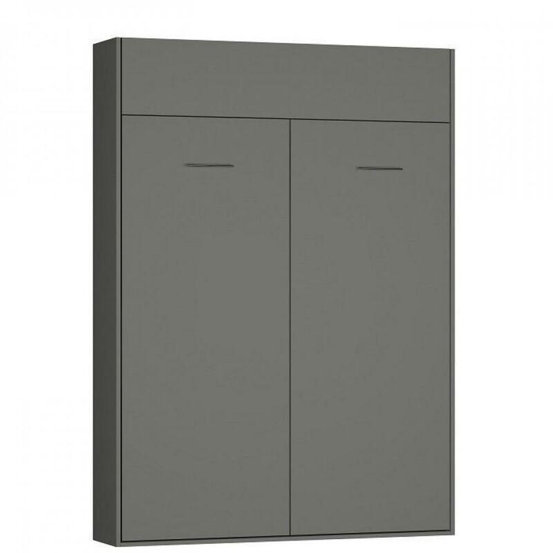 INSIDE75 Lit escamotable DYNAMO gris mat ouverture assistée et pied automatique,