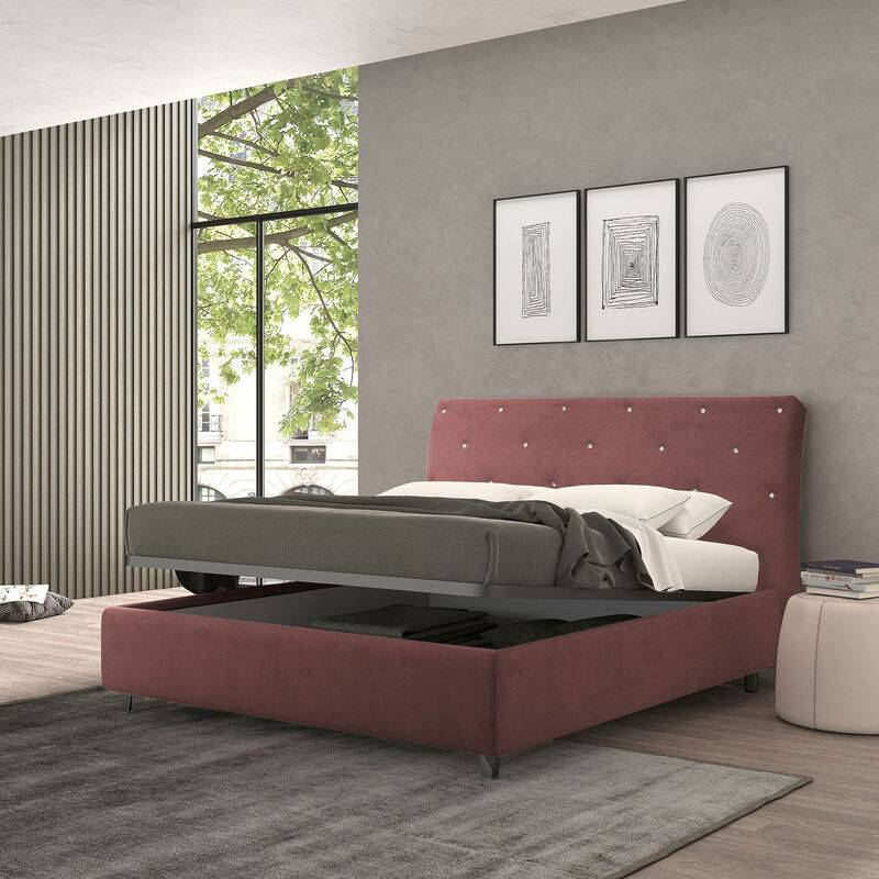 TALAMO ITALIA Lit simple avec conteneur strauss bordeaux, velours