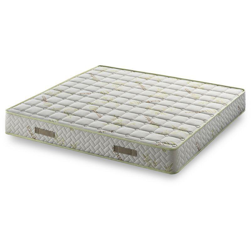 NUITS D'OR Matelas 70x190 Tissu avec Bambou Naturel Mousse HR 35 Kg/m3 Hauteur 21 Cm