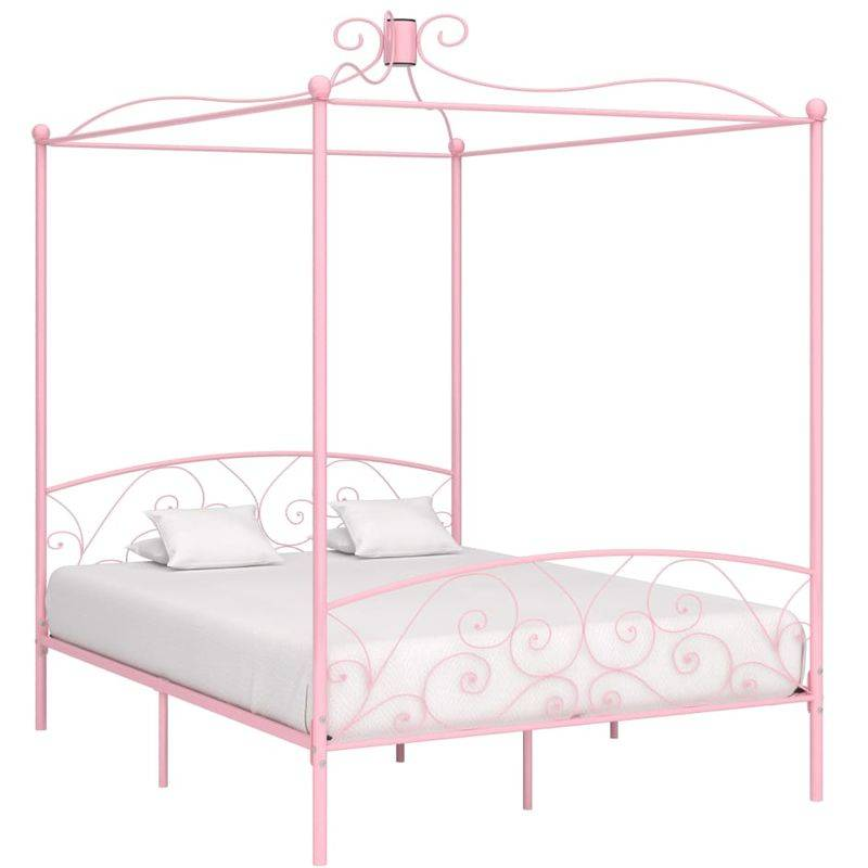 Topdeal VDTD36320_FR Cadre de lit à baldaquin Rose Métal 180 x 200 cm