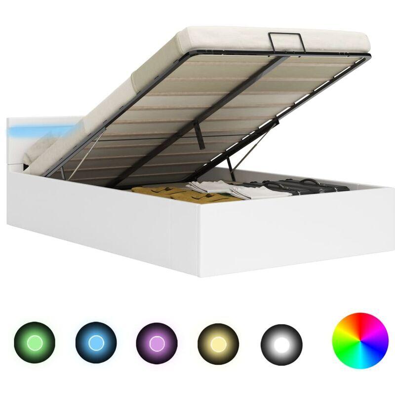Topdeal VDYU25715_FR Cadre de lit à rangement avec LED Blanc Similicuir 180x200