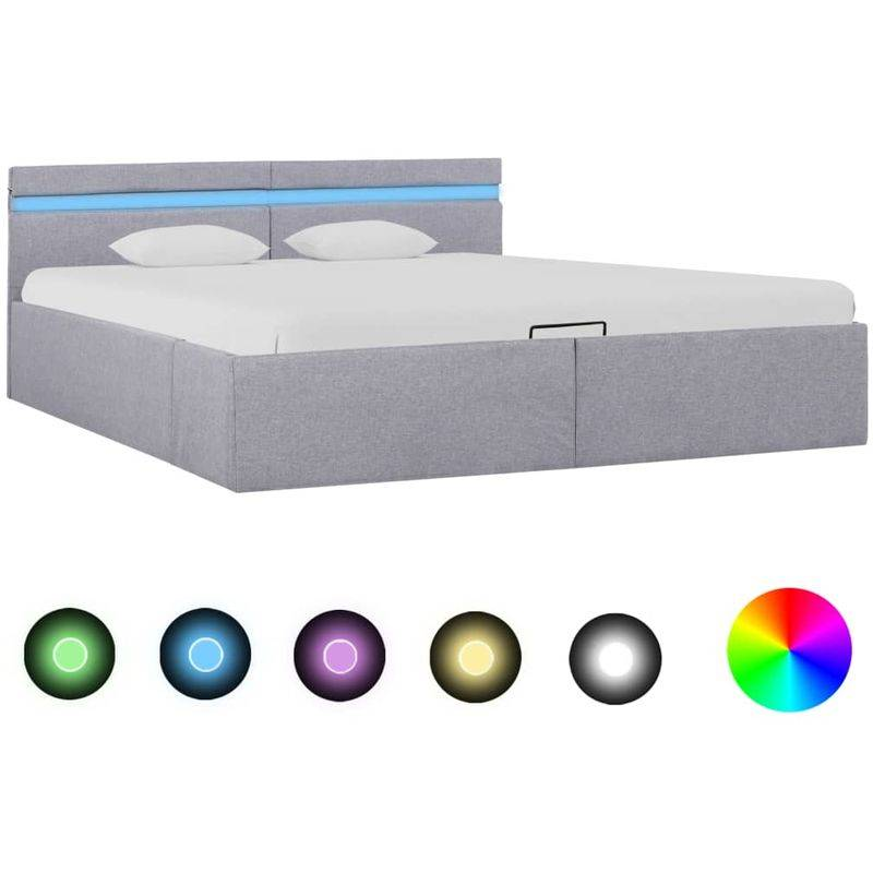 Topdeal VDTD25775_FR Cadre de lit à stockage avec LED Gris clair Tissu 180x200
