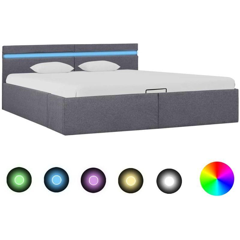 Topdeal VDTD25768_FR Cadre de lit à stockage avec LED Gris foncé Tissu 160x200
