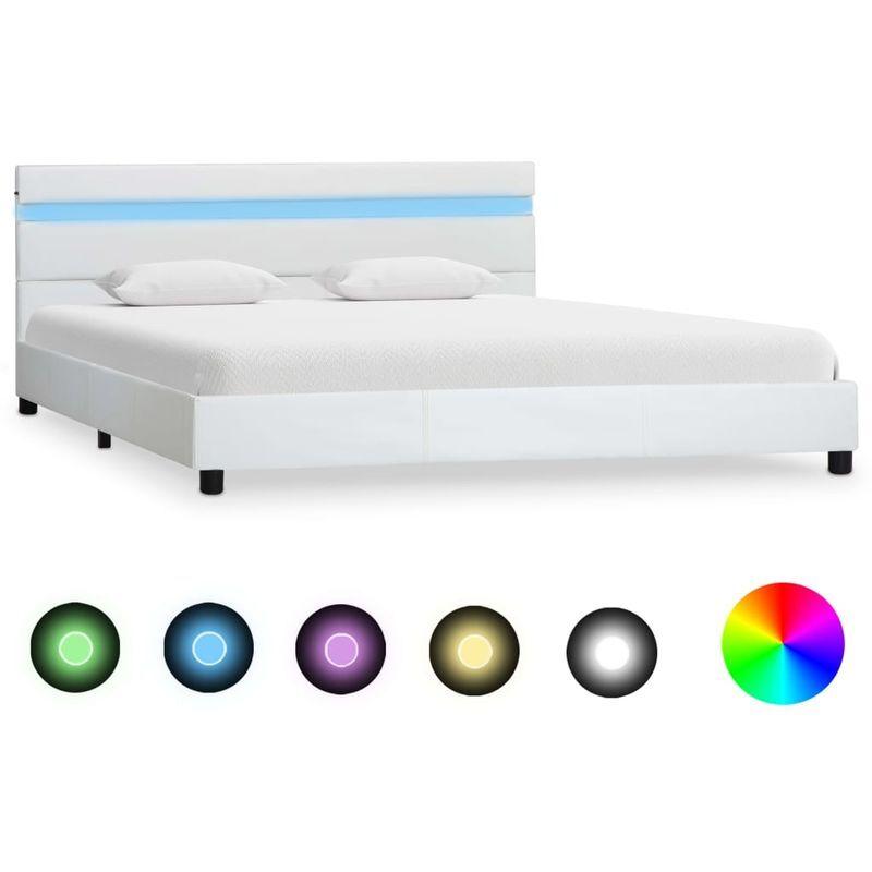 Topdeal VDTD25088_FR Cadre de lit avec LED Blanc Similicuir 120 x 200 cm