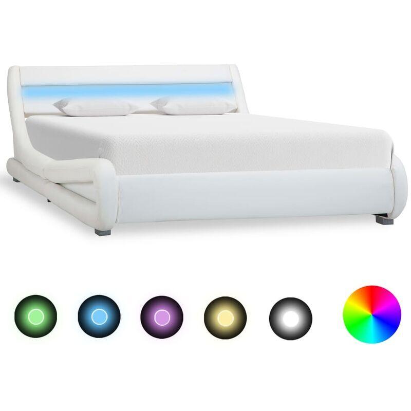 TOPDEAL VDYU25900_FR Cadre de lit avec LED Blanc Similicuir 160 x 200 cm Lit Adulte