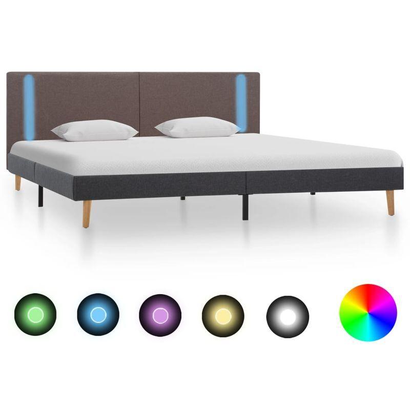 Topdeal VDTD36999_FR Cadre de lit avec LED Taupe et gris foncé Tissu 160 x 200