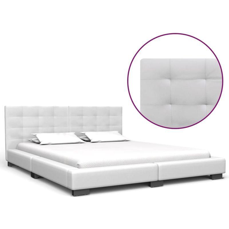 Topdeal VDTD22666_FR Cadre de lit Blanc Similicuir 160x200 cm