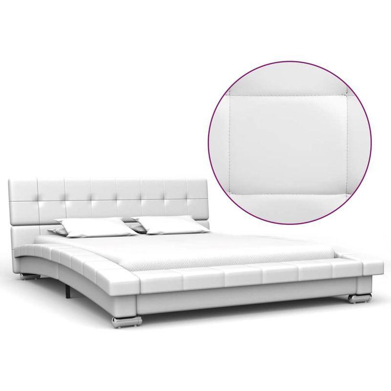Topdeal VDTD22654_FR Cadre de lit Blanc Similicuir 200 x 120 cm