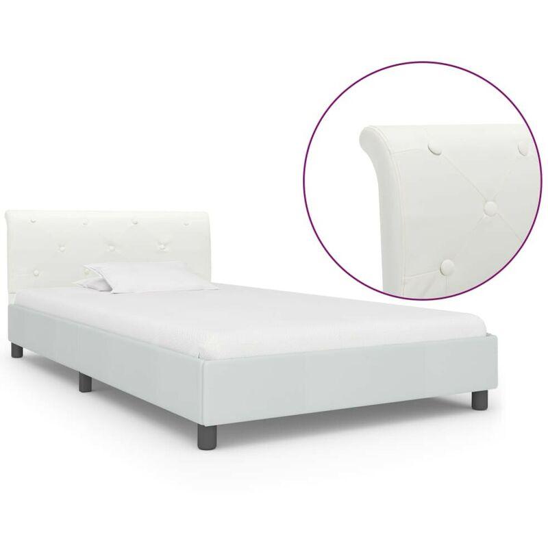 Topdeal VDTD25170_FR Cadre de lit Blanc Similicuir 90 x 200 cm