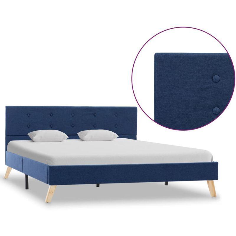 Topdeal VDTD25125_FR Cadre de lit Bleu Tissu 140 x 200 cm