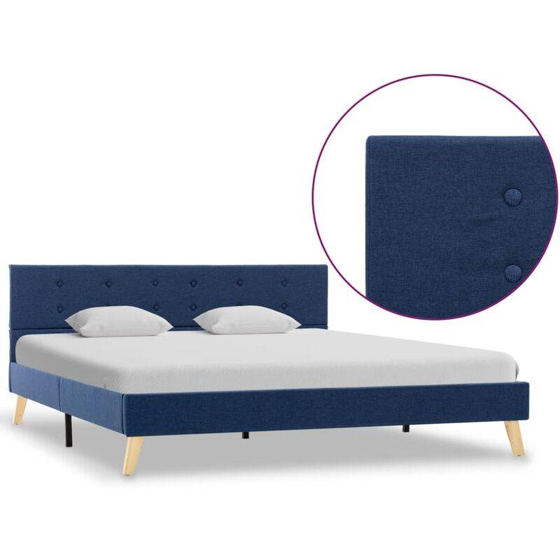 Topdeal VDYU25126_FR Cadre de lit Bleu Tissu 160 x 200 cm Lit Adulte Sommier à