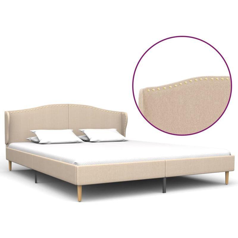 Topdeal VDTD22676_FR Cadre de lit Lin Tissu 160 x 200 cm