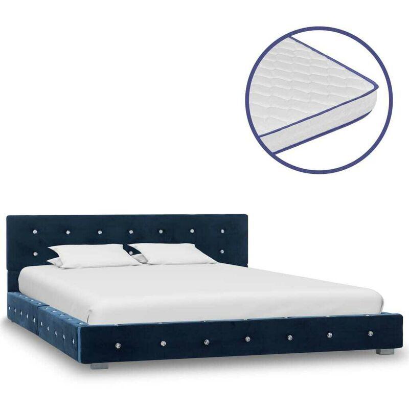 Topdeal VDTD20779_FR Lit avec matelas à mémoire de forme Bleu Velours 140 x 200