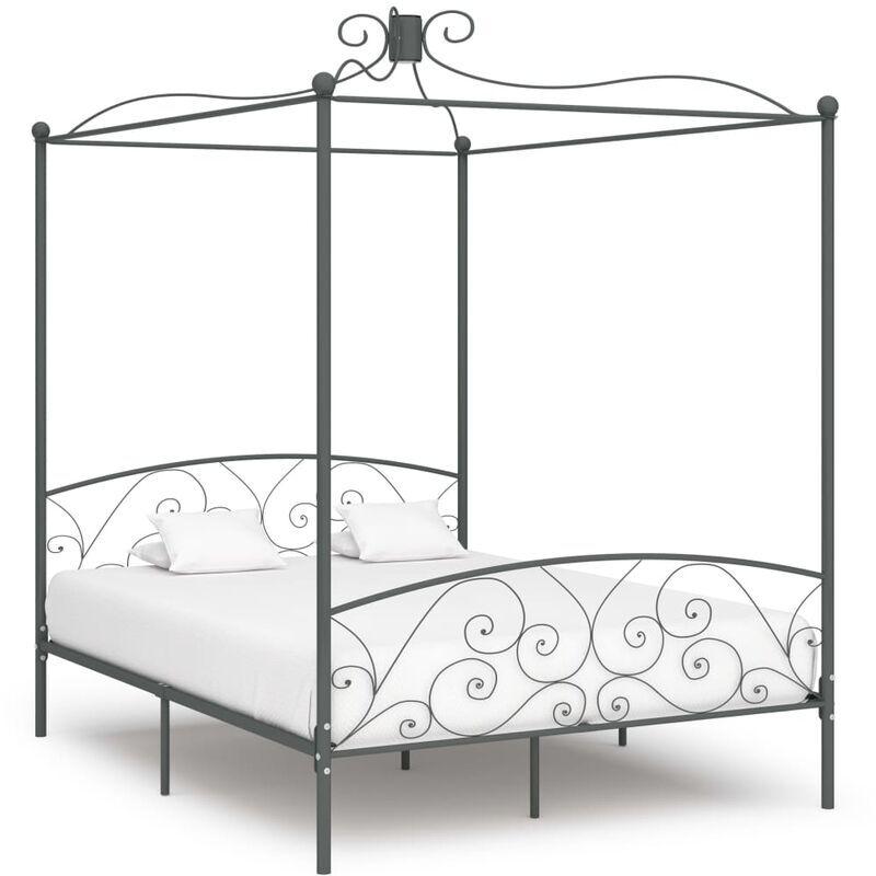 TRUE DEAL Cadre de lit à baldaquin Gris Métal 160 x 200 cm - True Deal
