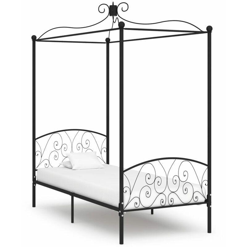 TRUE DEAL Cadre de lit à baldaquin Noir Métal 100 x 200 cm - True Deal