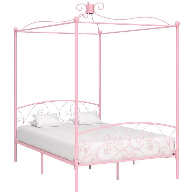 TRUE DEAL Cadre de lit à baldaquin Rose Métal 120 x 200 cm - True Deal