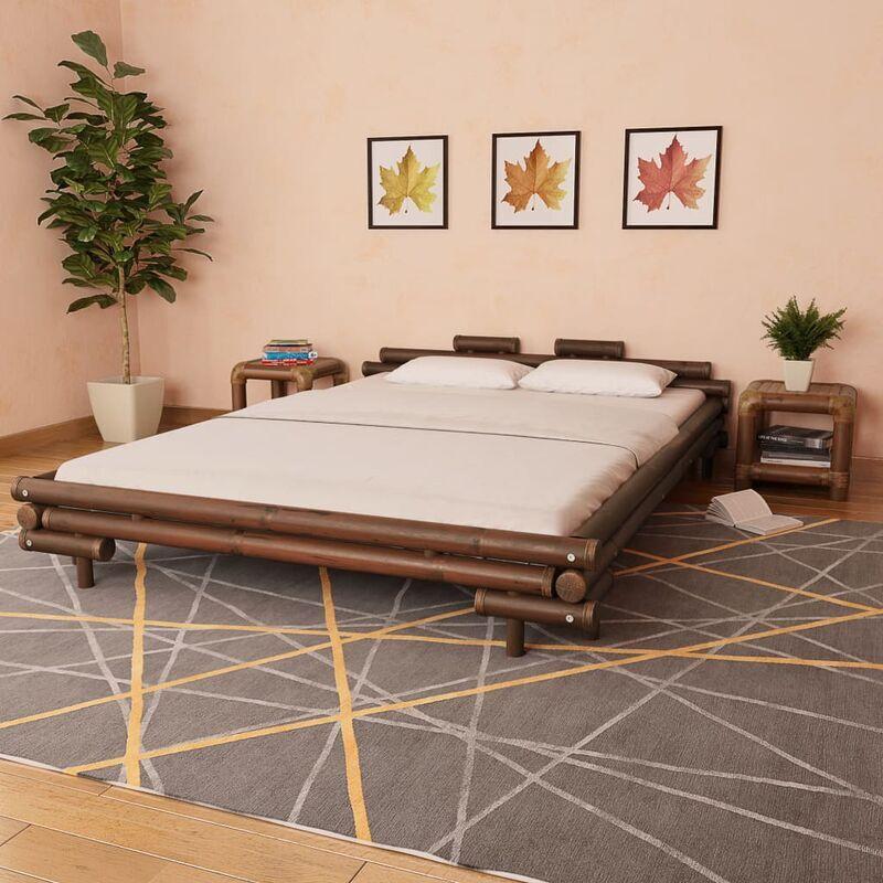 True Deal Cadre de lit Marron foncé Bambou 160 x 200 cm