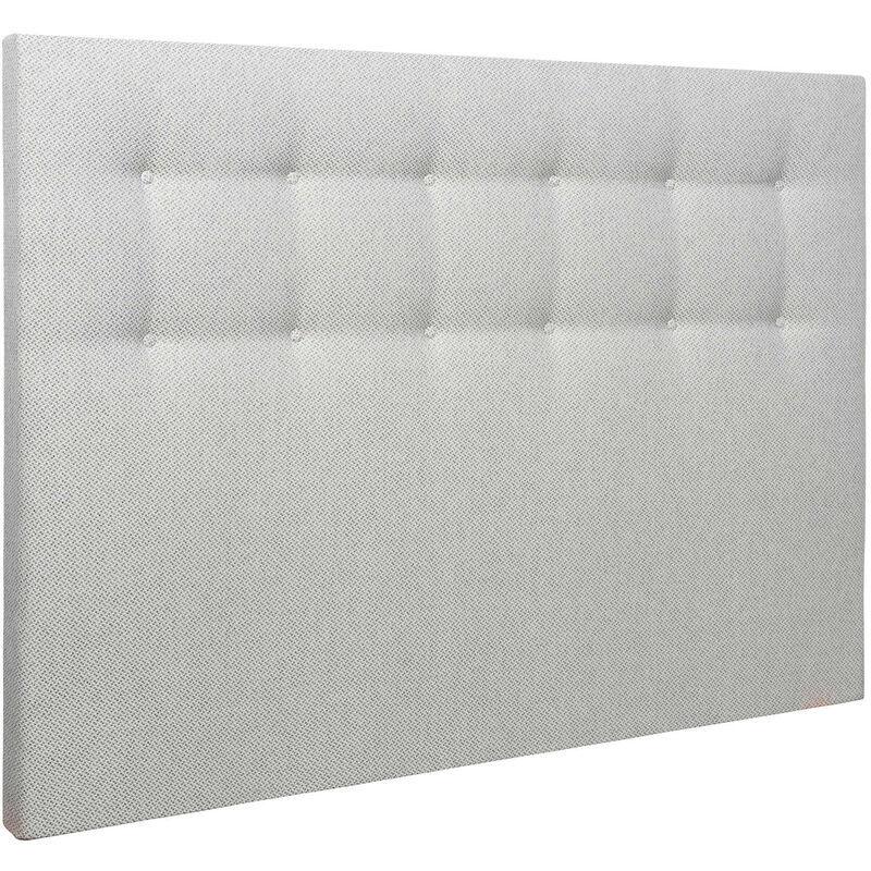 SOMEO Tête de lit déco capitonnée jacquard gris blanc 160 Gris clair - Someo