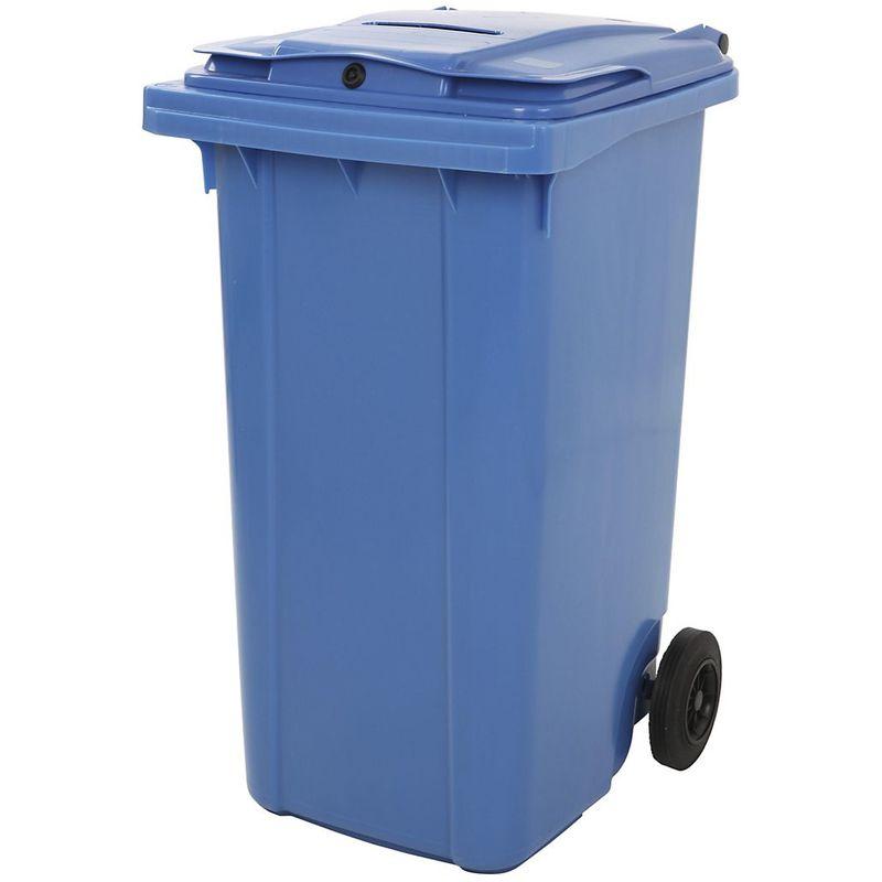 CERTEO Poubelle en plastique, avec fente pour dépôt de papiers, verrouillable, bleu
