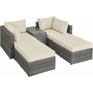 Tectake - Canapé de jardin SAN DOMINO 4 Places modulable en Bain de soleil en - Publicité