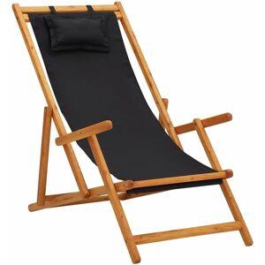 VIDAXL Chaise pliable de plage Bois d'eucalyptus solide et tissu Noir - Publicité
