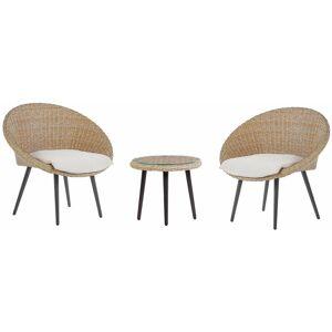 BELIANI Salon de jardin bistrot table et 2 chaises beiges en rotin ORTIGIA - Publicité