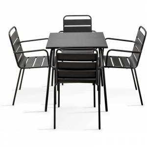 Oviala - Ensemble repas 4 places en métal, une table et 4 fauteuils en métal, - Publicité