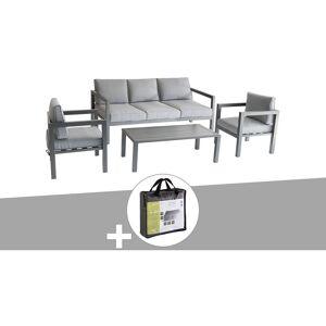 HESPERIDE Salon de jardin 5 places Azua Graphite avec housse de protection - Hespéride - Publicité