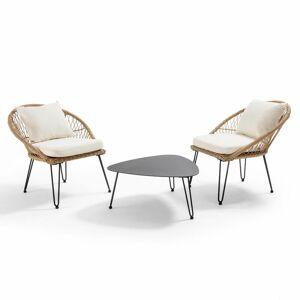 OVIALA Salon de jardin en 2 places imitation rotin avec coussins, 2 fauteuils et table - Publicité