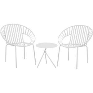 Beliani - Set de terrasse table et 2 chaises en acier blanc LICATA - Publicité