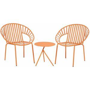 BELIANI Set de terrasse table et 2 chaises en acier orange LICATA - Publicité