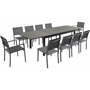 OVIALA Table de jardin extensible 10 places en aluminium et polywood Nice - Gris - Publicité