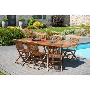 MACABANE Table de jardin 4/6 personnes - rectangulaire extensible 120/180 x 90 cm en - Publicité