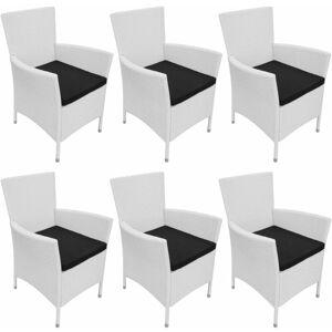 VIDAXL Chaises de jardin 6 pcs avec coussins Résine tressée Blanc crème - Publicité