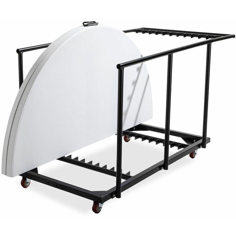REKKEM Lot de 6 tables pliantes ronde 180 cm et chariot de transport