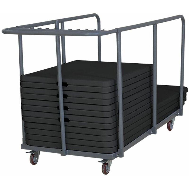 Rekkem - 18 tables pliantes noires 180 cm et chariot de transport