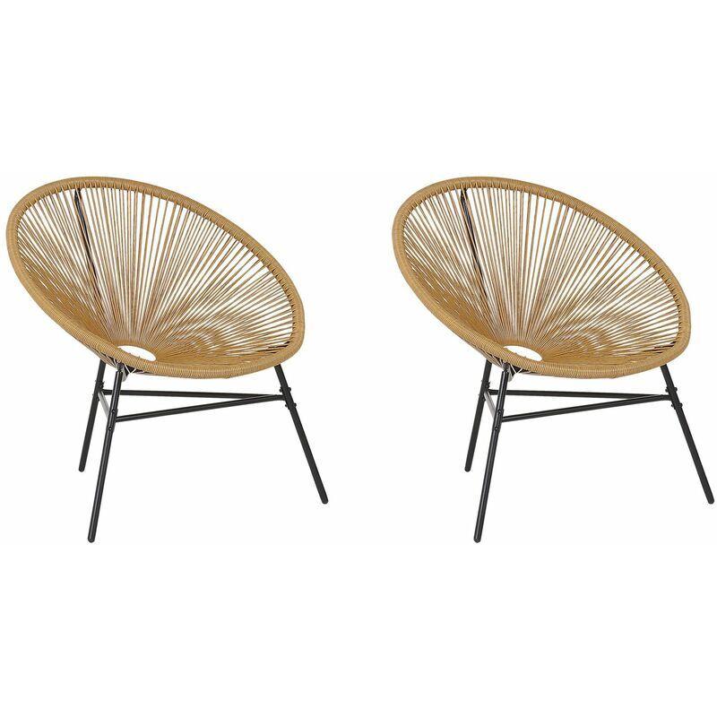 BELIANI Lot de 2 fauteuils spaghetti beige pour intérieur et extérieur ACAPULCO