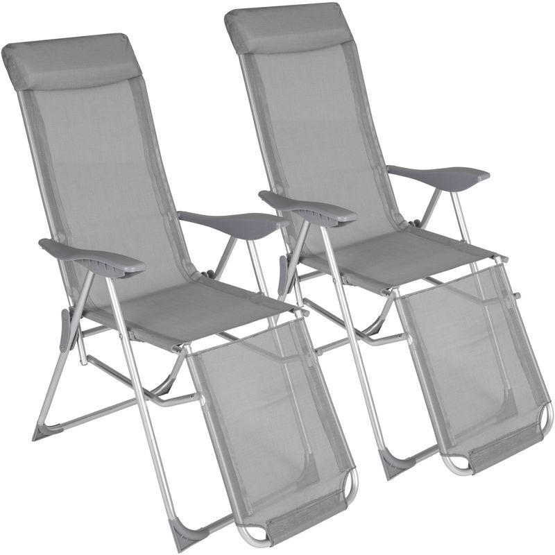 Tectake - 2 Chaises Pliantes Longues de Jardin de Camping Réglables sur 5