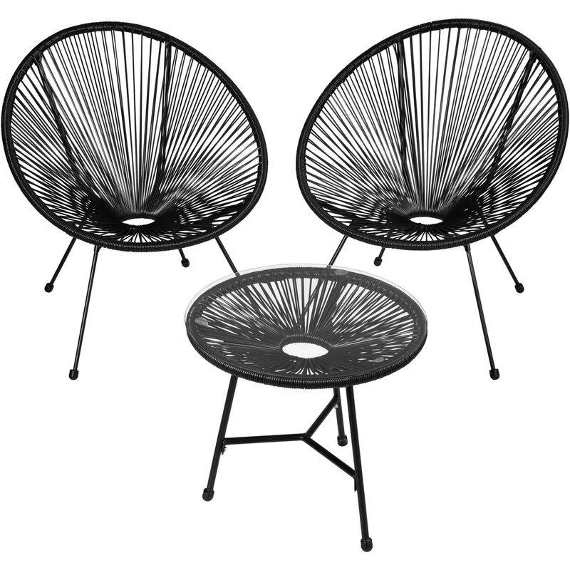 Tectake - 2 Fauteuils Acapulco et 1 Table de Jardin de Salon Design rétro Cadre