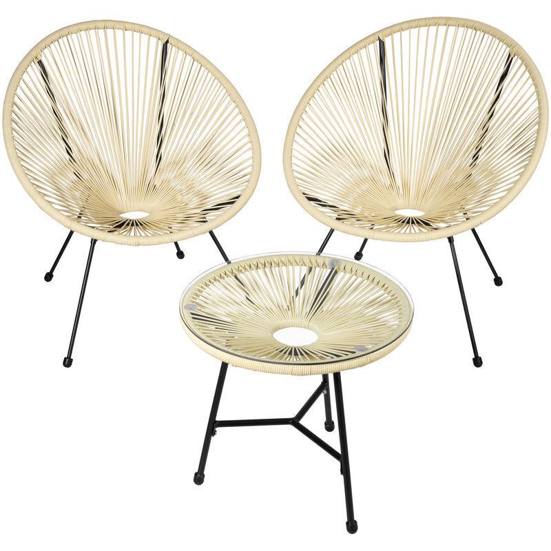 TECTAKE 2 Fauteuils Acapulco et 1 Table de Jardin de Salon Design rétro Cadre en Acier