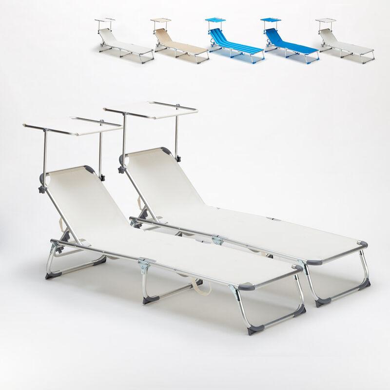 BEACH AND GARDEN DESIGN 2 transats chaises pour la mer pliants avec paresol CALIFORNIA   Blanc