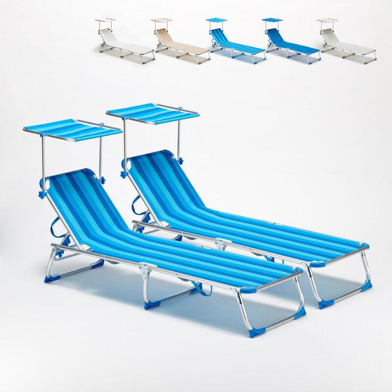 BEACH AND GARDEN DESIGN 2 transats chaises pour la mer pliants avec paresol CALIFORNIA   Rayures Bleues