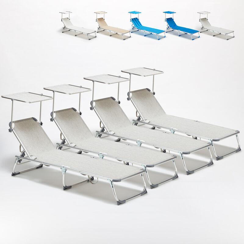 BEACH AND GARDEN DESIGN 4 transats chaises pour la mer pliants avec paresol CALIFORNIA   Gris