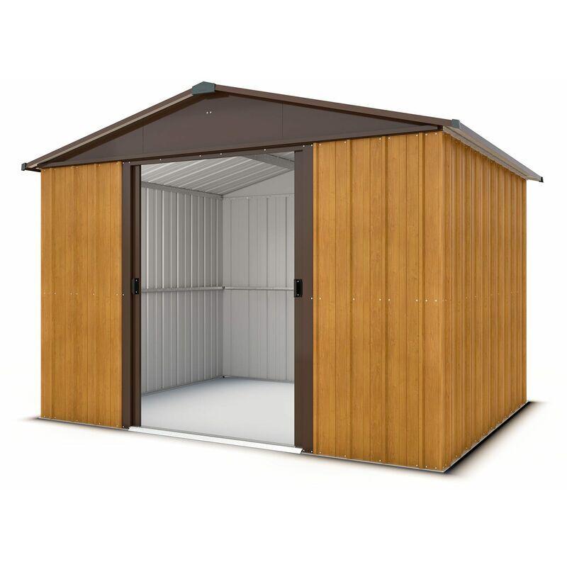 TRIGANO Abri de jardin métal aspect bois 5,3 m2 Yardmaster + kit d'ancrage